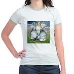 Owl Pigeons In Field Jr. Ringer T-Shirt