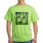 Owl Pigeons In Field Green T-Shirt