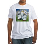 Owl Pigeons In Field Fitted T-Shirt