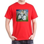 Owl Pigeons In Field Dark T-Shirt