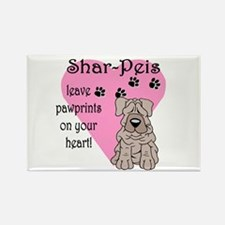 Shar Pei Pawprints Rectangle Magnet