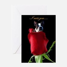 I Miss You Boston Terrier Greeting Card