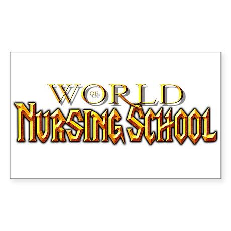 World of Nursing School Rectangle Sticker