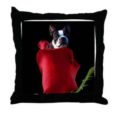 Red Rose Boston Terrier Throw Pillow