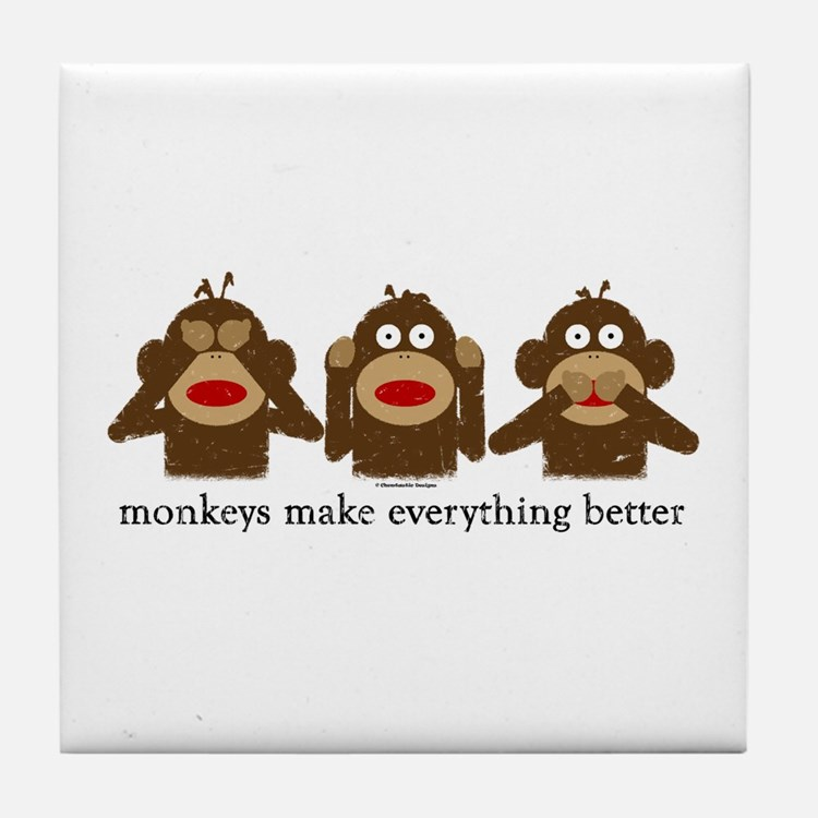 3 Wise Sock Monkeys Tile Coaster