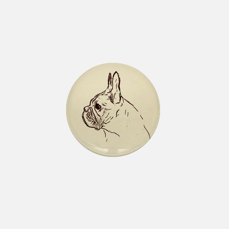 French Bulldog Vintage Drawing Mini Button