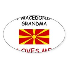 My Macedonian Grandma Loves Me Oval Decal
