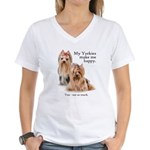 My Yorkies Women's V-Neck T-Shirt