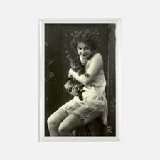 Vintage Girl with Cat Rectangle Magnet