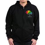 Rainbow Peace Love Zip Hoodie (dark)
