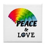 Rainbow Peace Love Tile Coaster