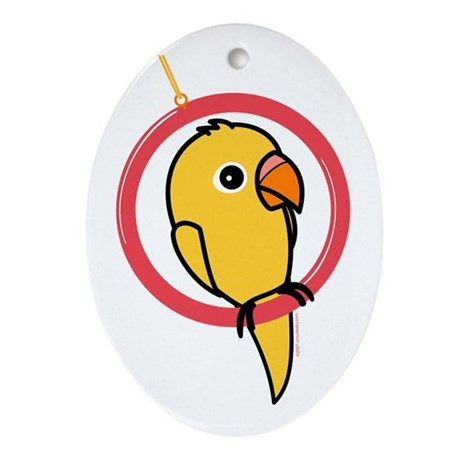 Yellow Parakeet Oval Ornament