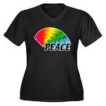 Rainbow Peac Women's Plus Size V-Neck Dark T-Shirt