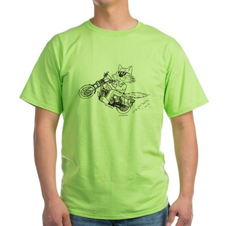 Motorcycle Cat Green T-Shirt