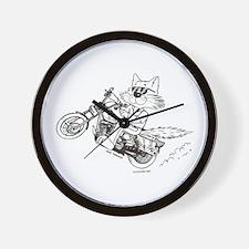Motorcycle Cat Wall Clock