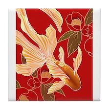 """Kimono Tradisional Design """"Goldfish"""" Tile Coaster"""