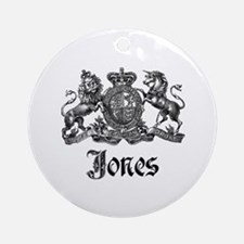 Jones Vintage Crest Family Name Ornament (Round)