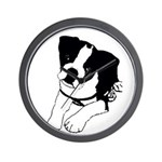 Inquisitive Boston Terrier Puppy Wall Clock