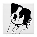 Inquisitive Boston Terrier Puppy Tile Coaster