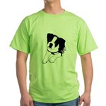 Inquisitive Boston Terrier Puppy Green T-Shirt