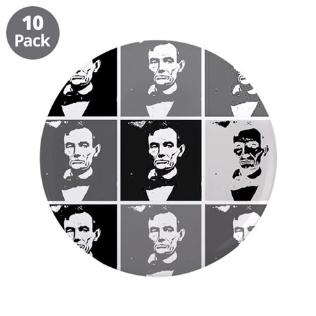 """Black and White Pop Art Lincoln 3.5"""" Button (10 pa"""