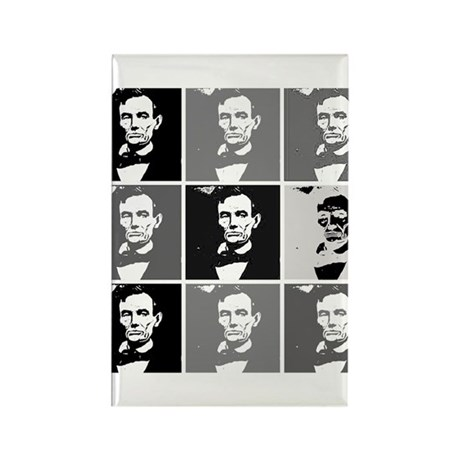 Black and White Pop Art Lincoln Rectangle Magnet (