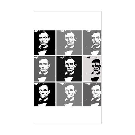 Black and White Pop Art Lincoln Sticker (Rectangle