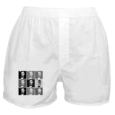 Black and White Pop Art Lincoln Boxer Shorts