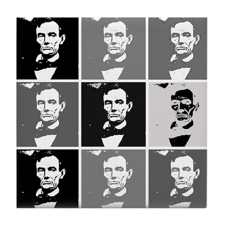 Black and White Pop Art Lincoln Tile Coaster