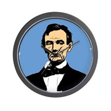 Honest Abe on Blue Background Wall Clock