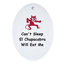 Can't sleep El Chupacabra Oval Ornament