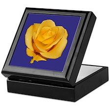 Yellow Rose on Blue Keepsake Box