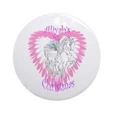Aliyah's 1st Christmas Unicorn Ornament (Round)