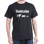 Meatetarian White on Black T-Shirt