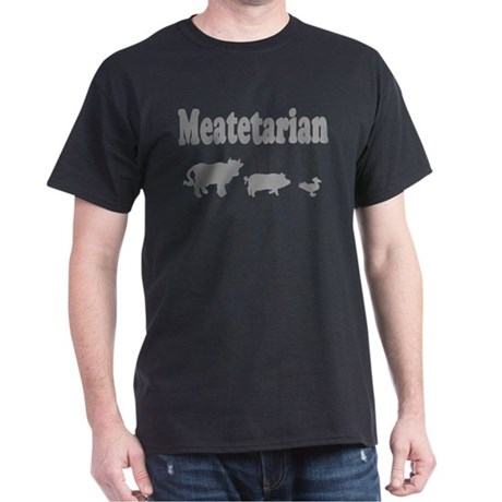 Meatetarian Grey on Black T-Shirt