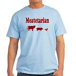Meatetarian Maroon on Tarheel Blue T-Shirt