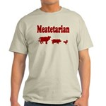 Meatetarian Red on Grey T-Shirt