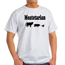 Meatetarian Black on Grey T-Shirt