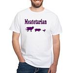 Meatetarian Purple on White T-Shirt