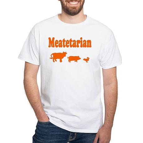 Meatetarian Orange on White T-Shirt