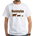 Meatetarian Brown on White T-Shirt