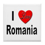 I Love Romania Tile Coaster