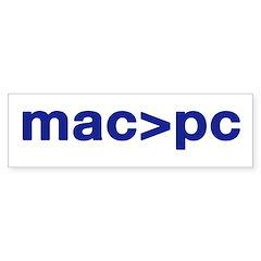MAC > PC bumper sticker
