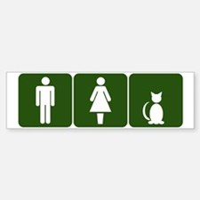 Cat Restroom Sign Bumper Bumper Bumper Sticker