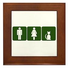 Cat Restroom Sign Framed Tile