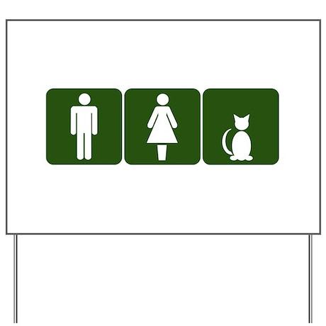 Cat Restroom Sign Yard Sign