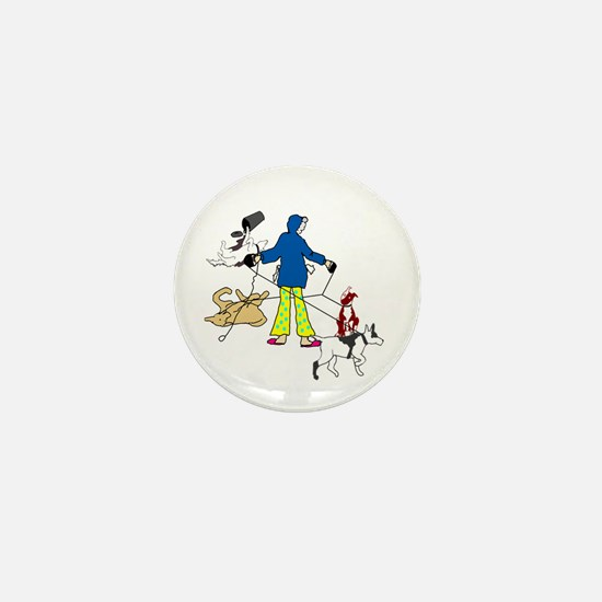 Walking Flyball Dogs Mini Button