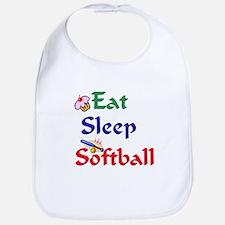 Eat Sleep Softball Bib