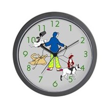 Walking Flyball Dogs Wall Clock