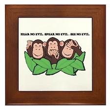 No Evil Monkeys Framed Tile